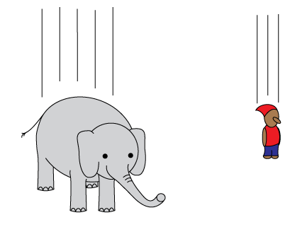 Elephant and boy falling to the ground due to gravity