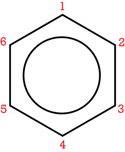 Numbered positions on a benzene ring