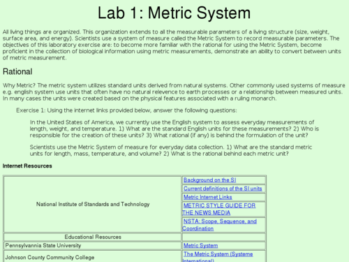 Metric System Measurement Conversions