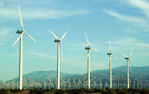 Wind power is a renewable resource that can be harvested with wind farms