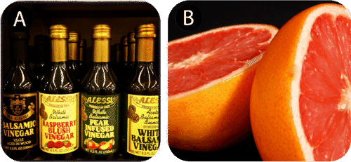 Vinegar contains acetic acid, grapefruit contains ascorbic and citric acid