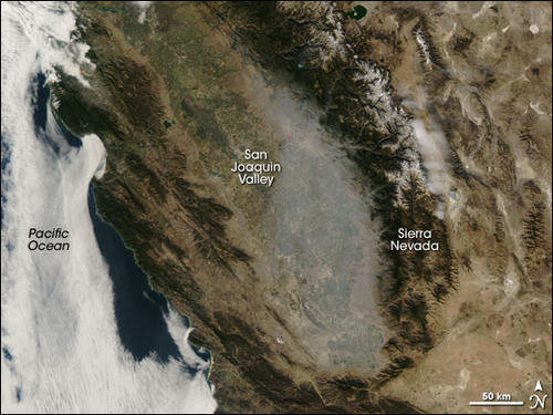 Satellite image of California