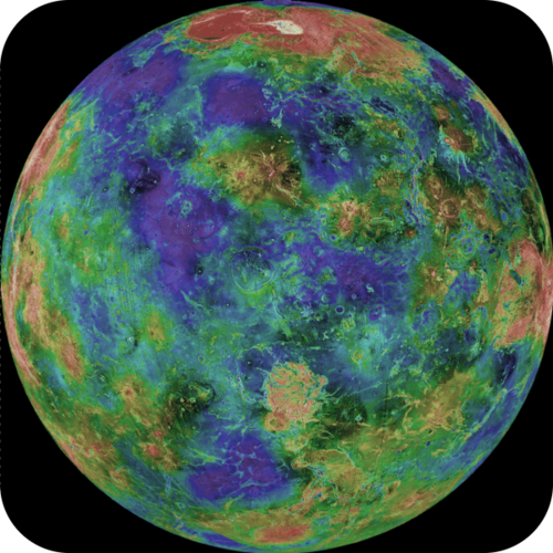 A false color image of the surface of Venus