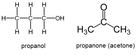 Oxidation of 2-propanol yields acetone (propanone)