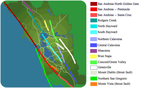 Map of faults in the San Francisco Bay Area