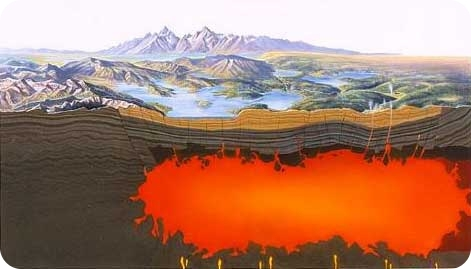 Diagram of a magma chamber under Yellowstone