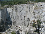 Picture of a granite quarry, the average composition of continental crust