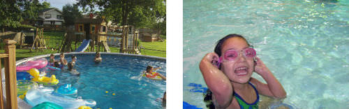 composite of two photos: people in a pool and close up of child in a pool