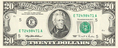 Picture of a twenty dollar bill