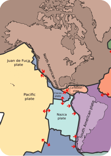 Map of the North American plate and its surrounding plates