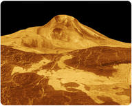 Radar image of the Maat Mons volcano on Venus with lava beds in the foreground