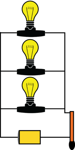 Three light bulbs in parallel