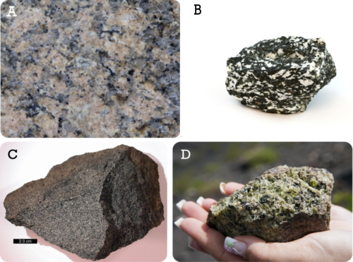 Granite, diorite, gabbro, and peridotite are all intrusive igneous rocks