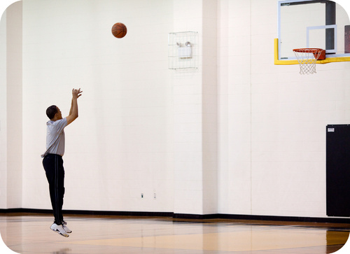 This man shooting a basketball requires a subconscious understanding of vectors