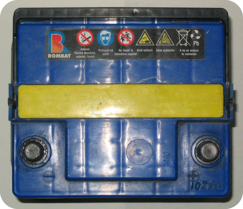 A car battery contains the strong electrolyte sulfuric acid