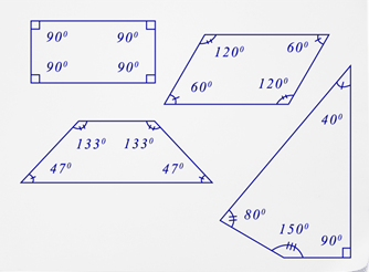 Determine missing angle measures read geometry ck 12 foundation the sum of the interior angles of a quadrilateral is 360 regardless of the type of quadrilateral the following diagram will show various quadrilaterals ccuart Image collections