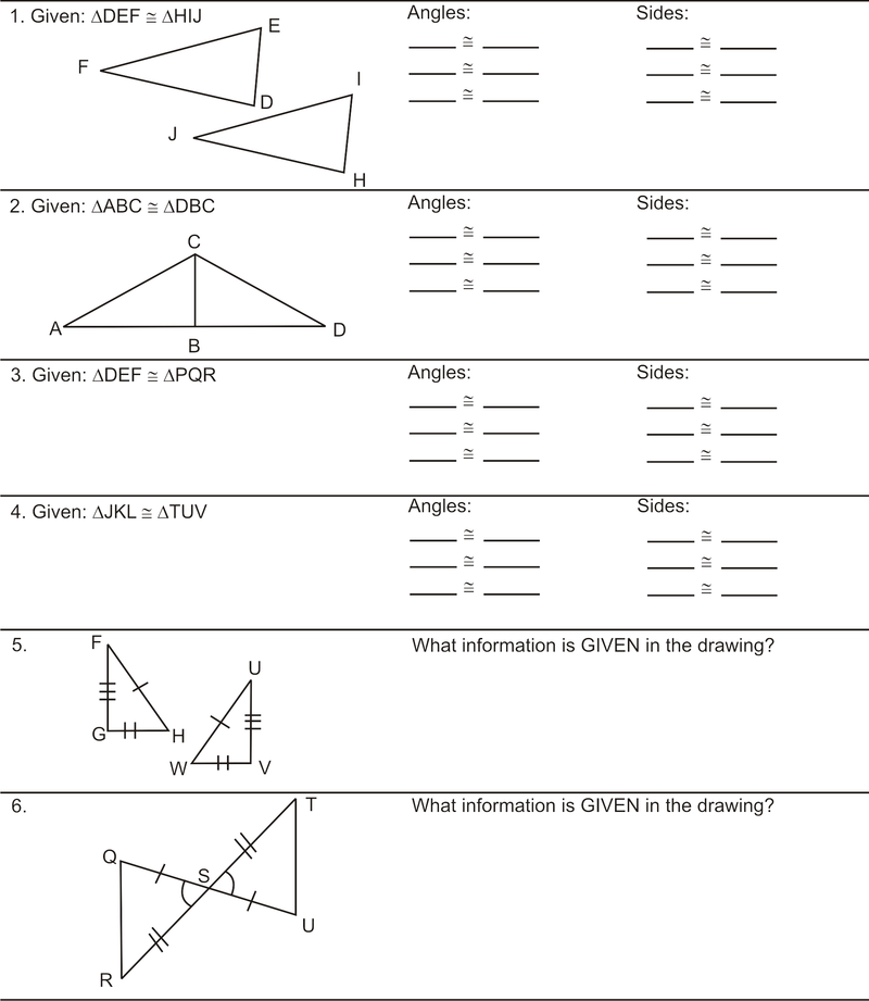 Congruent Parts of Congruent Triangles are Congruent – Geometry Worksheet Congruent Triangles Answers