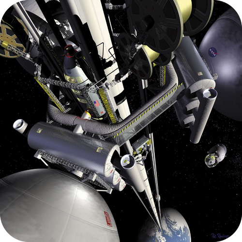 Newton's third law would prevent the proposed space elevator from falling to Earth