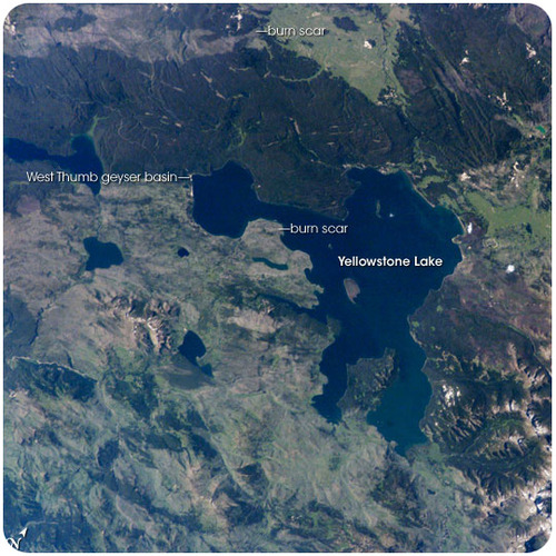 Yellowstone Lake lies at the center of a giant caldera