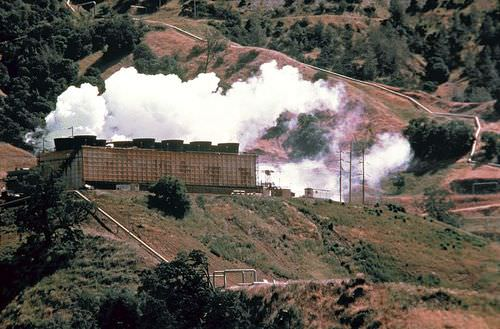A geothermal power plant in operation