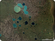 Satellite image of kettle lakes