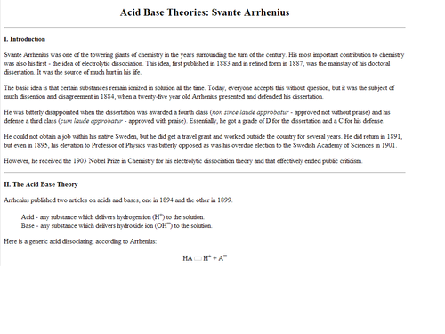 Svante Arrhenius's Acid Base Theory