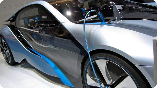 Electrical car in a showroom