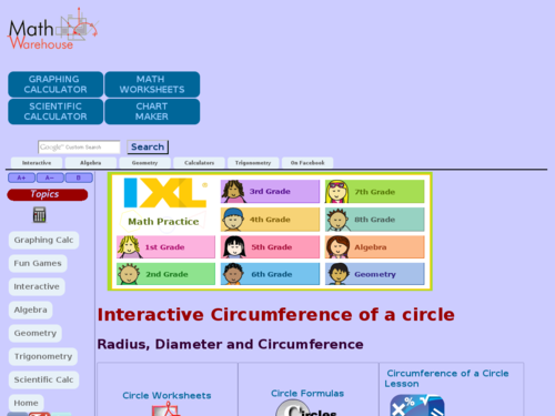 Interactive Circumference of a Circle