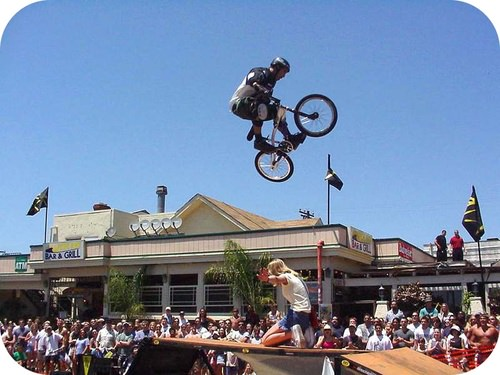Bike jumping, like other sports that involve vector motions in perpendicular directions, requires more physical practice than mathematical analysis