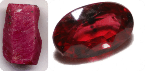 Ruby is cut and polished to make the gemstone sparkle