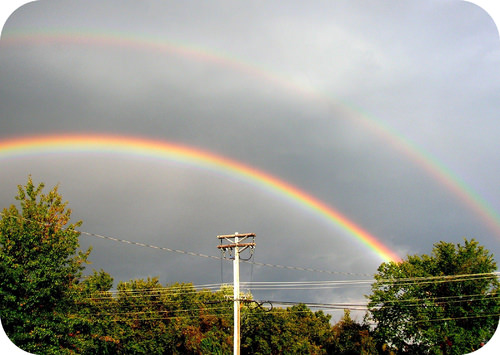 A rainbow is formed by the bending of light
