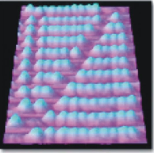 "Nanoscale abacus buckyball ""beads"" placed on a copper surface [12]."