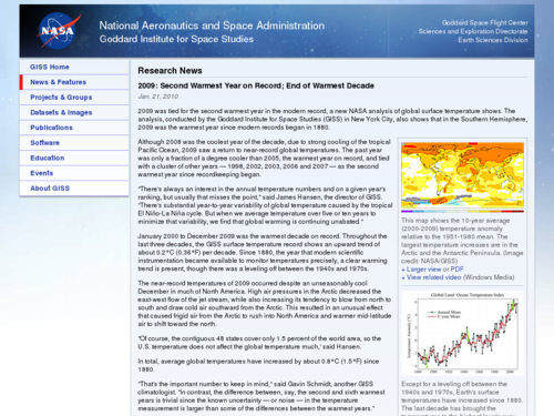 2009: Second Warmest Year on Record