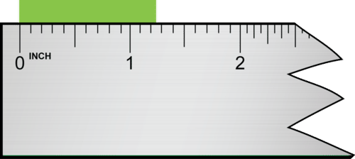 Since this ruler is calibrated to 0.1 inches, we should estimate measurements to the hundredths place