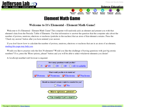 Element Math Game
