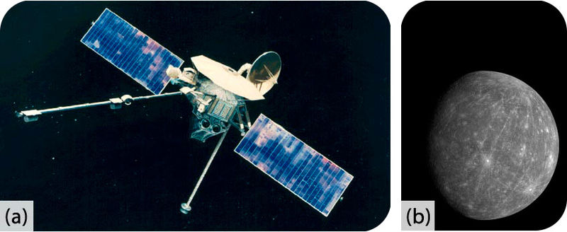 The Mariner 10 spacecraft, which made flybys of Mercury