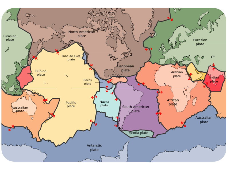 The lithospheric plates and their names