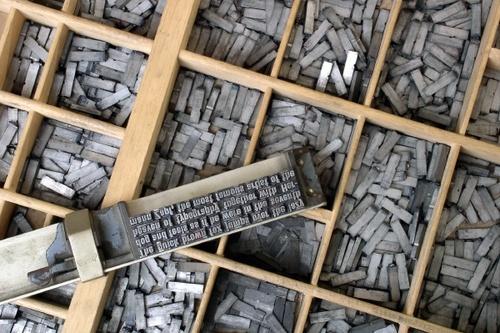 Type blocks arranged into rows.
