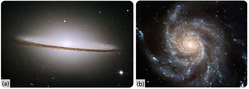 Spiral galaxies are totating disks of stars and dust with several arms