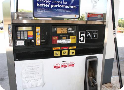 A gasoline pump uses standardized units