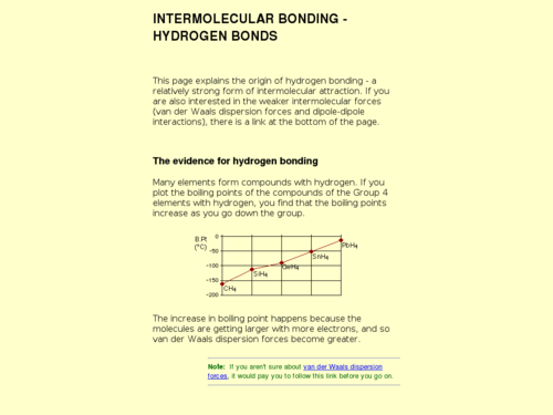 Intermolecular Bonding- Hydrogen Bonds