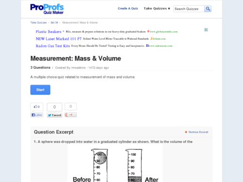 Measurement: Mass & Volume