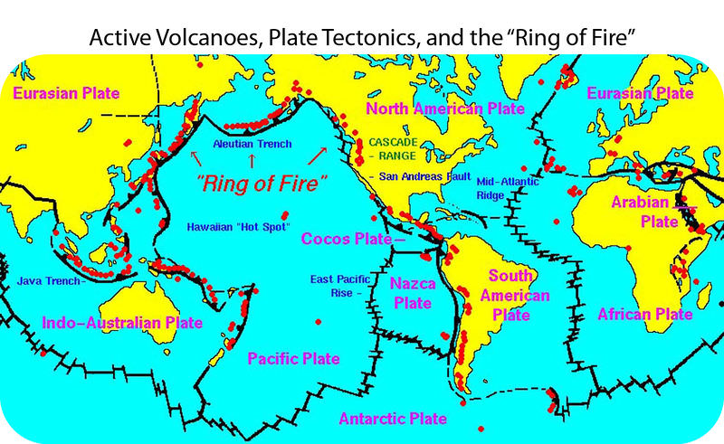 Map of active volcanos around the world