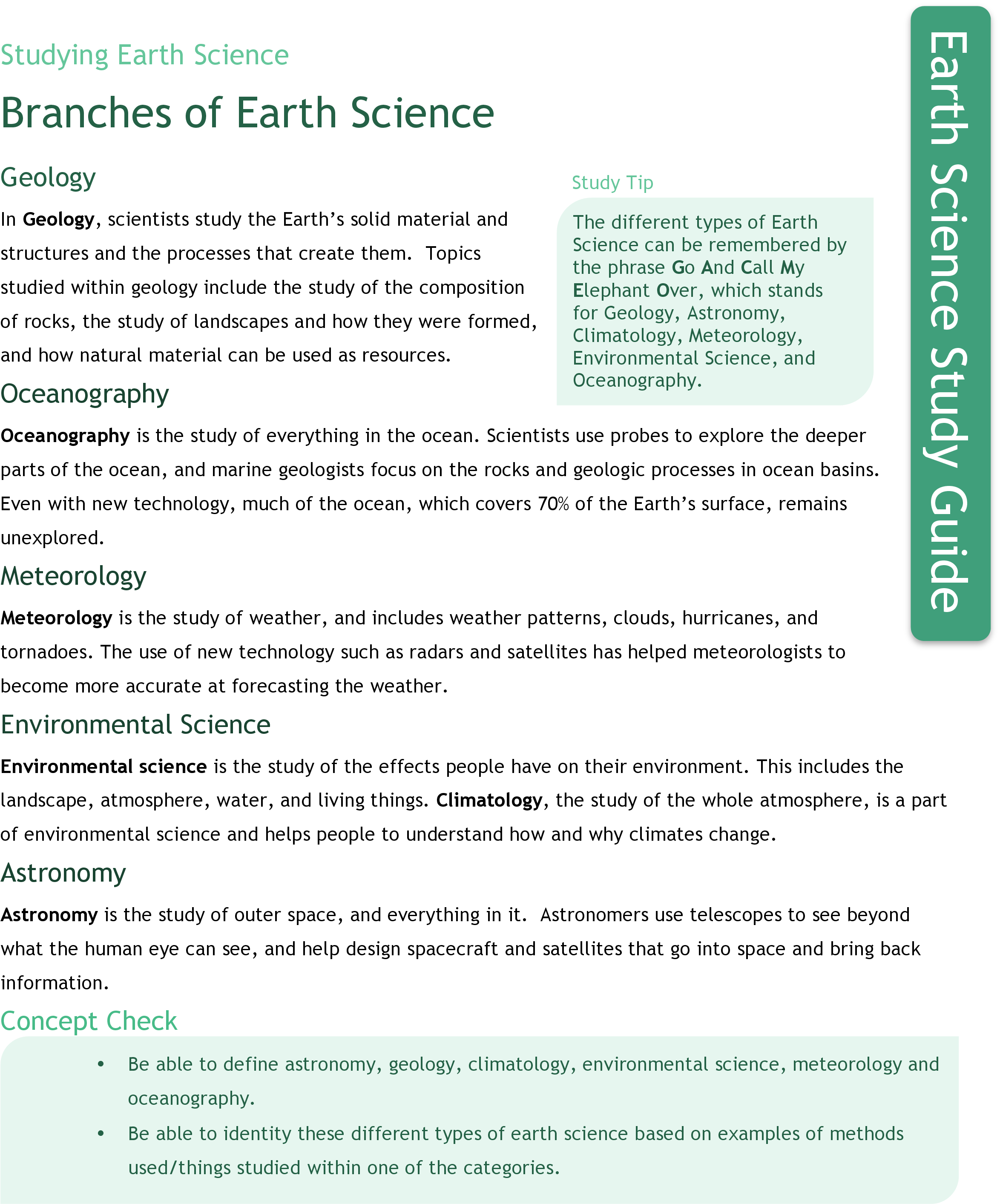 worksheet Branches Of Science Worksheet branches of earth science study aids ck 12 foundation