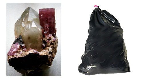 Quartz rock and a plastic bag