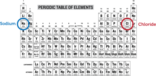 Periodic table with sodium and fluorine circled
