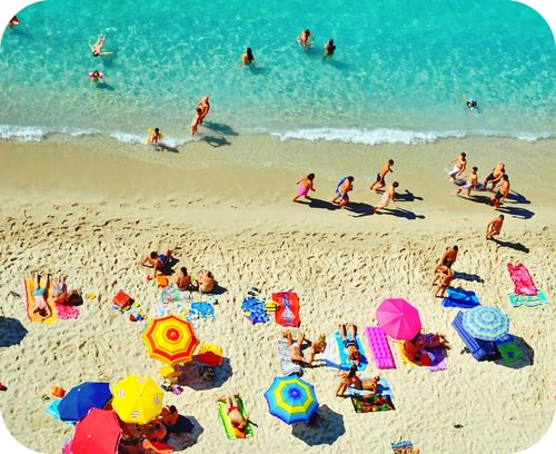 UV light causes suntans at a beach