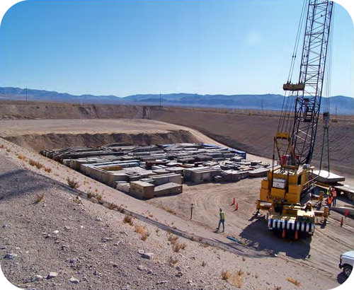 Nuclear waste being buried at a special site