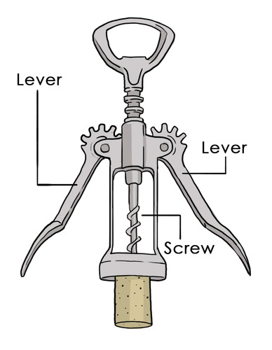 A corkscrew contains two levers and a screw