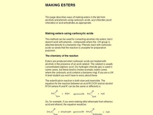 Making Esters Using Condensation Reactions